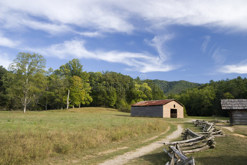 Old Barns and Split Rail Fence royalty free stock photos