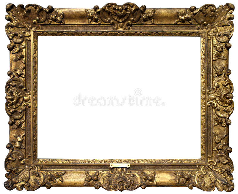 Old Baroque Gold Frame. Gold antique baroque frame isolated on white background