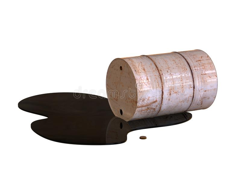 The old barrel is lying on its side. 3D illustration. The old barrel is lying on its side. Spilled oil. 3D illustration royalty free illustration