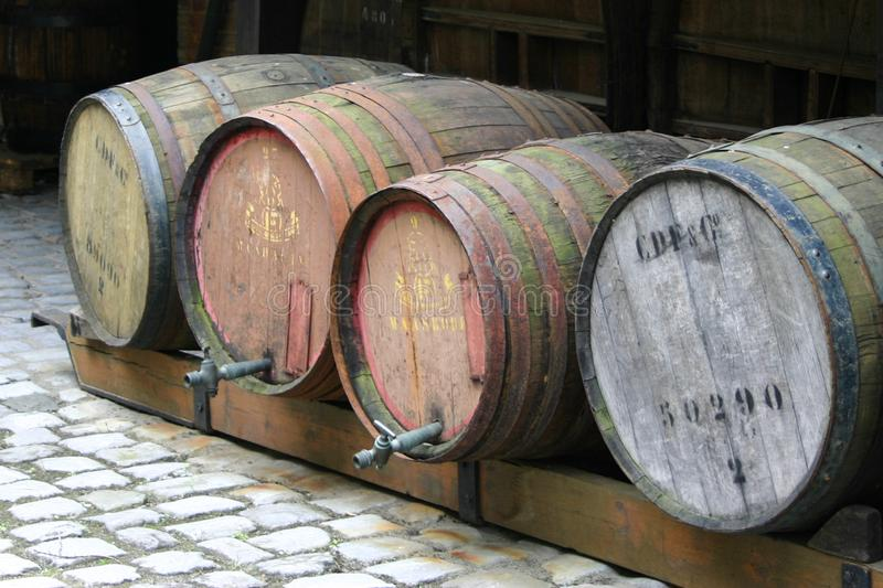 Old barrels in an old liquor manufacturing place royalty free stock image