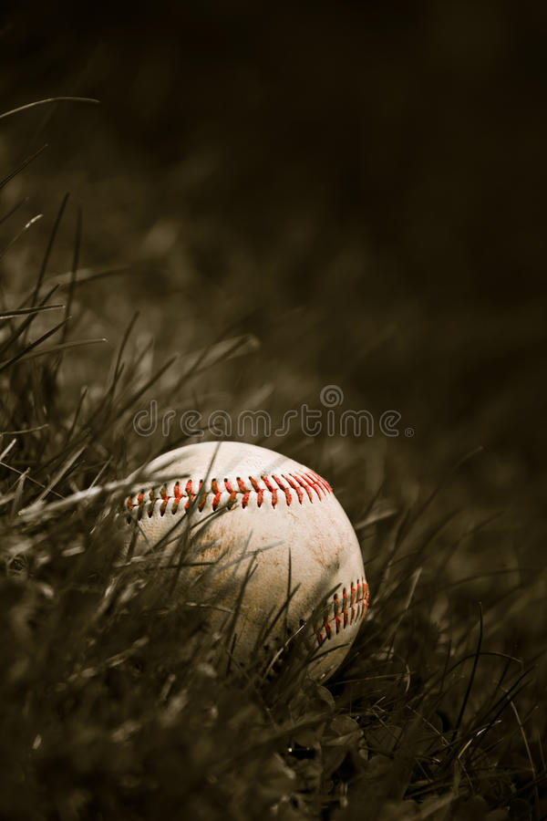 Free Old Baseball In The Grass Royalty Free Stock Image - 14237236