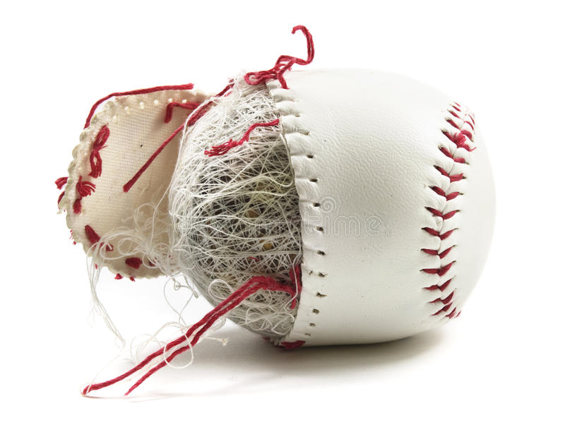Old baseball with strings stock photos