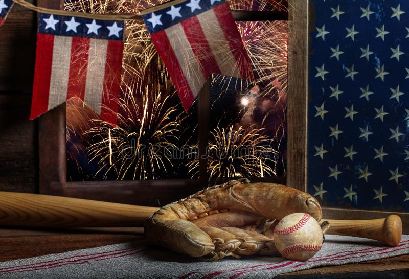 Baseball and mitt 4th of July stock photos