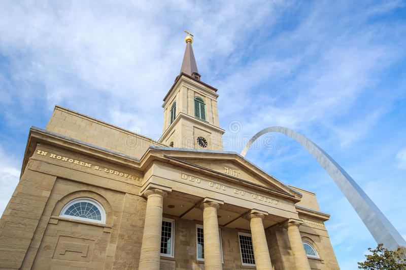 The old Basilica Cathedral St. Louis. The old Basilica Cathedral in St. Louis stock photo