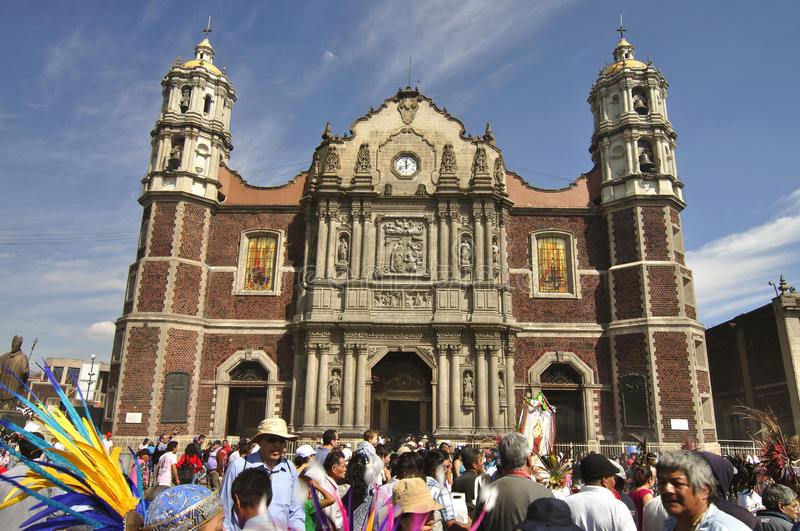 Old basilica of Our Lady of Guadalupe stock photography