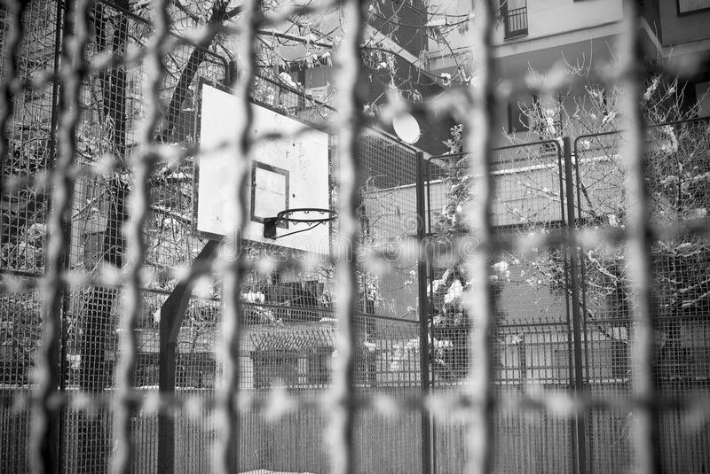 Old basketball court in the winter. royalty free stock images