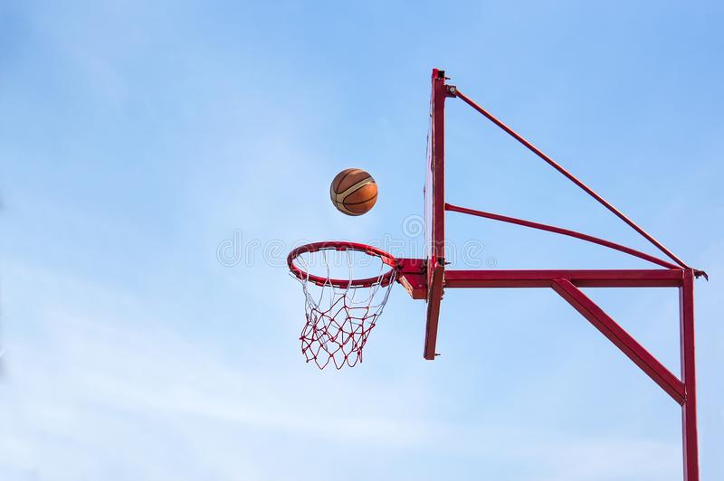 Old basketball hoop,. Street basketball throw sport the ball in the basket stock images