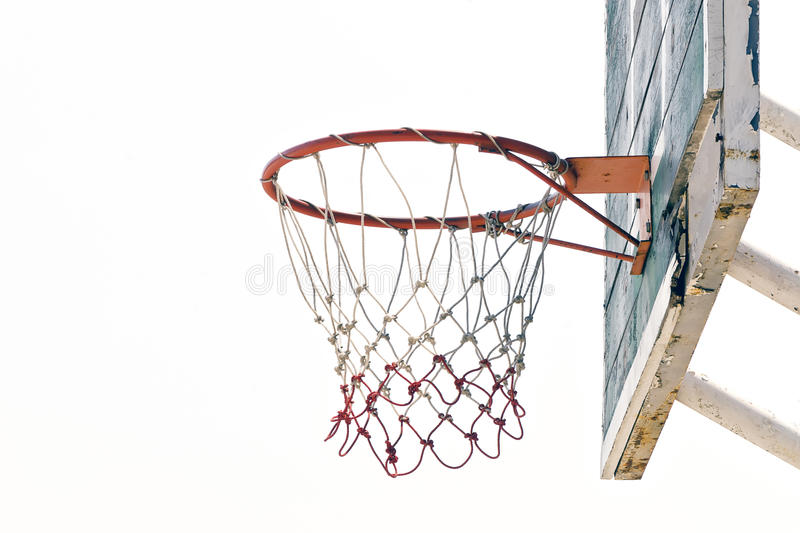 Old Basketball hoop. On white background royalty free stock images
