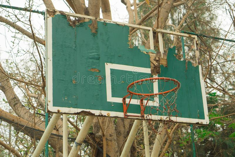 Old basketball hoops outdoor decay stock photography