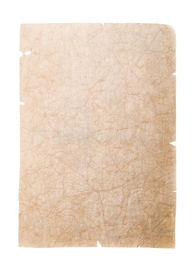 Old battered paper isolated on white background. Blank page for notes royalty free stock photography