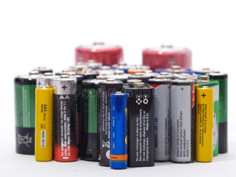 Old batteries royalty free stock photo