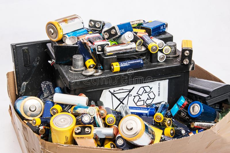 Old batteries in the household royalty free stock photos