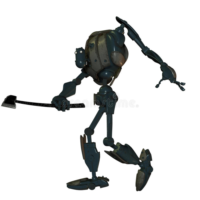 Old Battle Robot With An Ax Royalty Free Stock Image