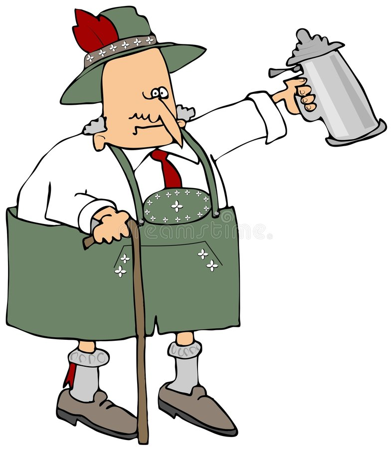 Old Bavarian. This illustration depicts an old man dressed in traditional Bavarian attire and holding a beer stein stock illustration