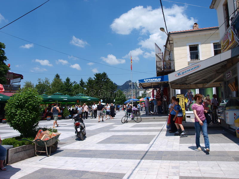 Old Bazaar, Prilep, Macedonia. A street in the old bazaar of Prilep, Macedonia seen from Metodija Andonov Square stock image