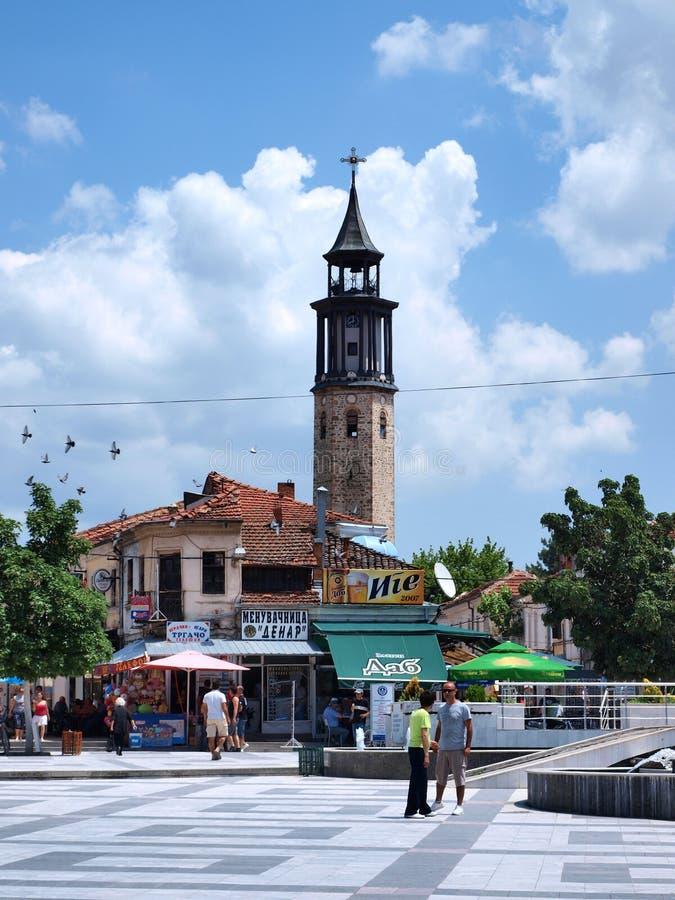 Old Bazaar, Prilep, Macedonia. Metodija Andonov-ÄŒento Square with the view of the old bazaar of Prilep in Macedonia with the city's landmark, the clocktower stock photo