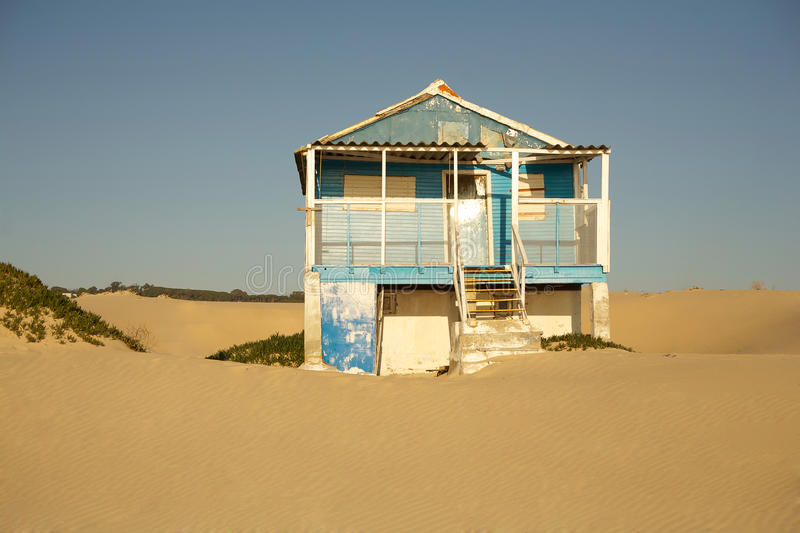 Old beach house stock image