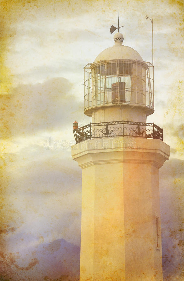 Old beacon. Sea travel background at old paper texture with old beacon. Lighthouse tower in retro style for romantic travel and sea adventure. Old lighthouse in stock image