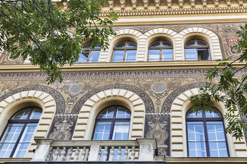 Old and beautiful architecture in Budapest, Hungary. Old and beautiful building facade in Budapest, Hungary, Europe royalty free stock photos