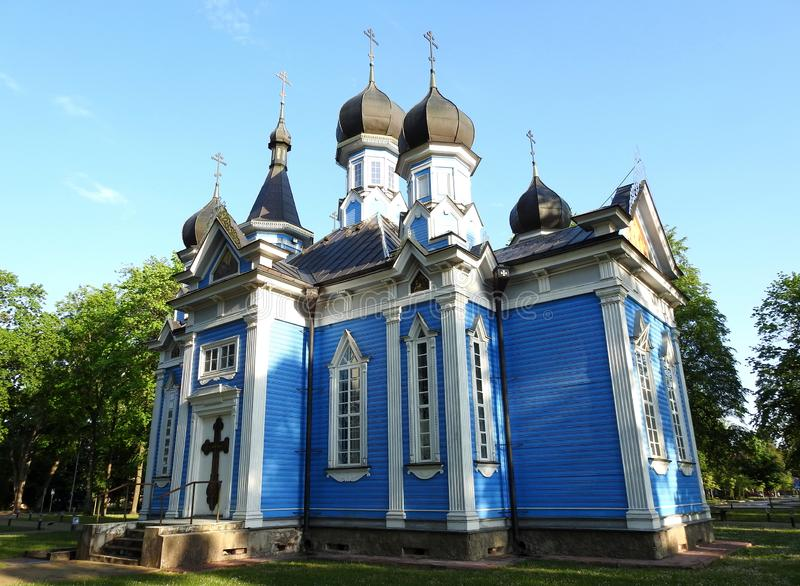 Old beautiful blue church, Lithuania royalty free stock photo