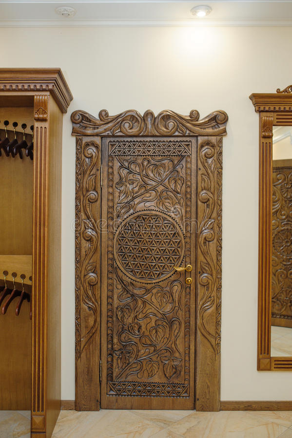 Download Old Beautiful Carved Wooden Doors Stock Photo