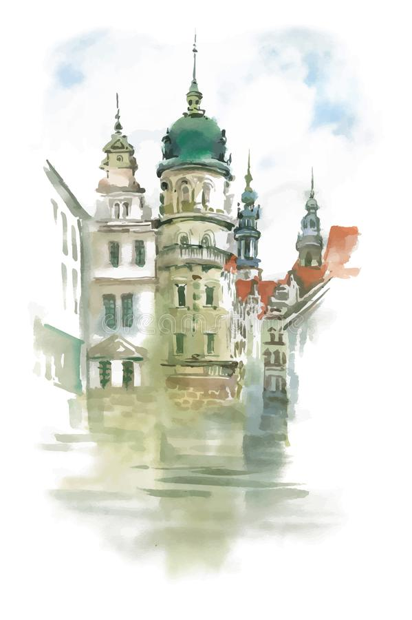 Old beautiful church on street, hand drawn illustration. vector illustration
