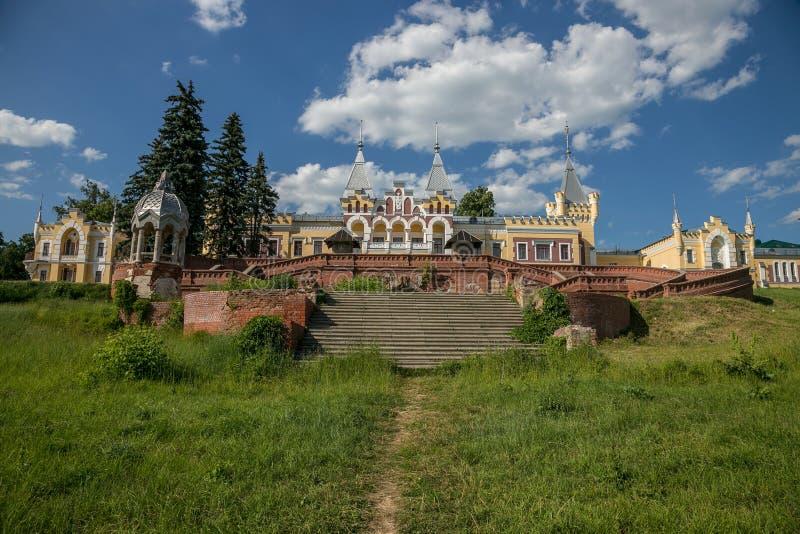 Old beautiful gothic style mansion of Baron von Derviz in Kiritsy village . Ryazan region, Russia.  stock photography