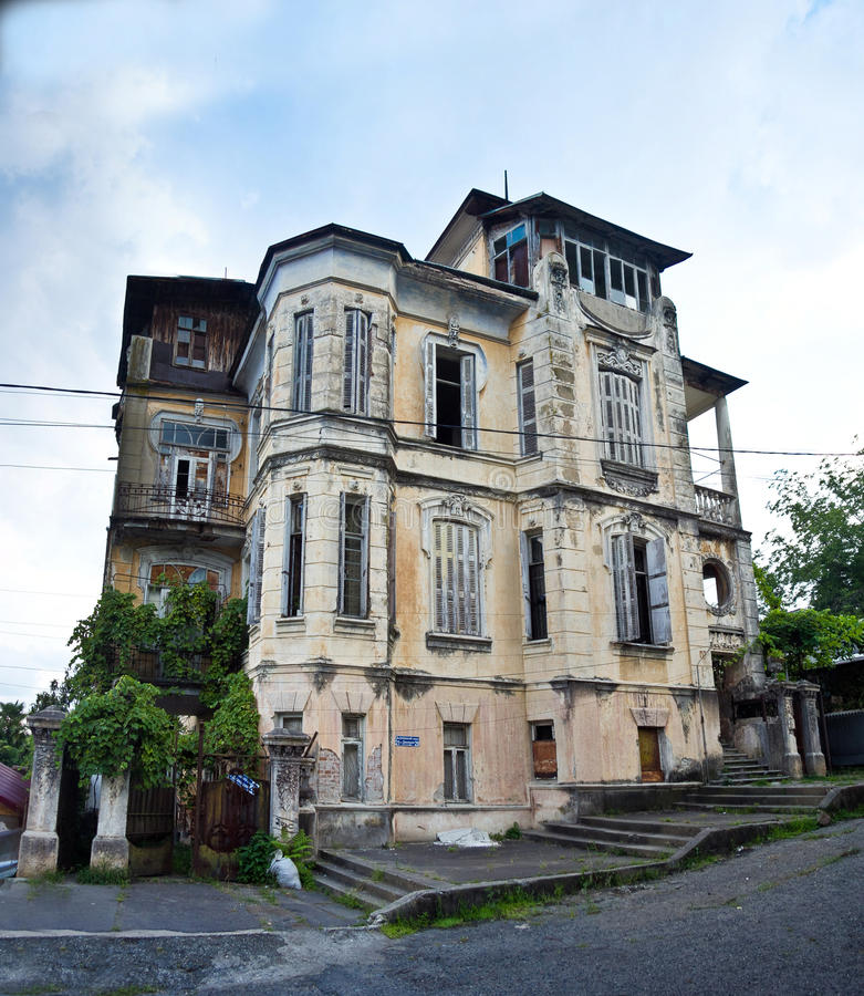 The old beautiful mansion of the Hofmeister in Sukhum stock photo