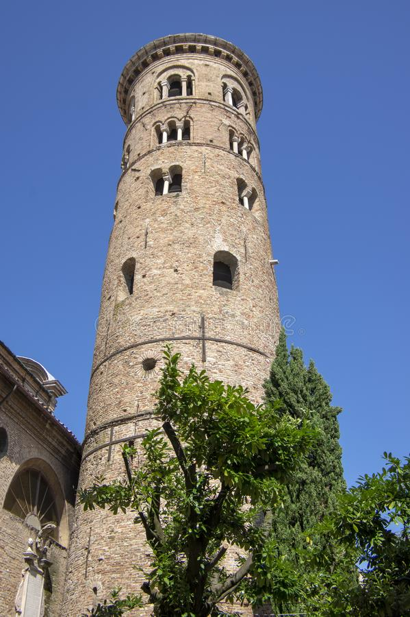 Old beautiful medieval ancient round italian red brick bell tower in Ravenna stock photos