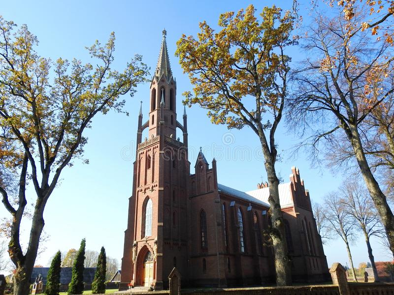 Old beautiful red catholic church, Lithuania stock photography