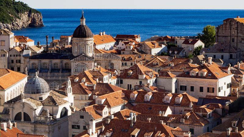View over the Roofs of Dubrovnik. Old and Beautiful Roofs of Dubrovnik with Old Bell Tower royalty free stock photography