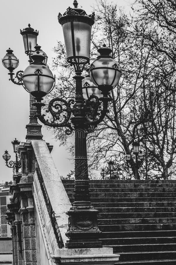 Old beautiful street lamps in Bologna, Italy stock image