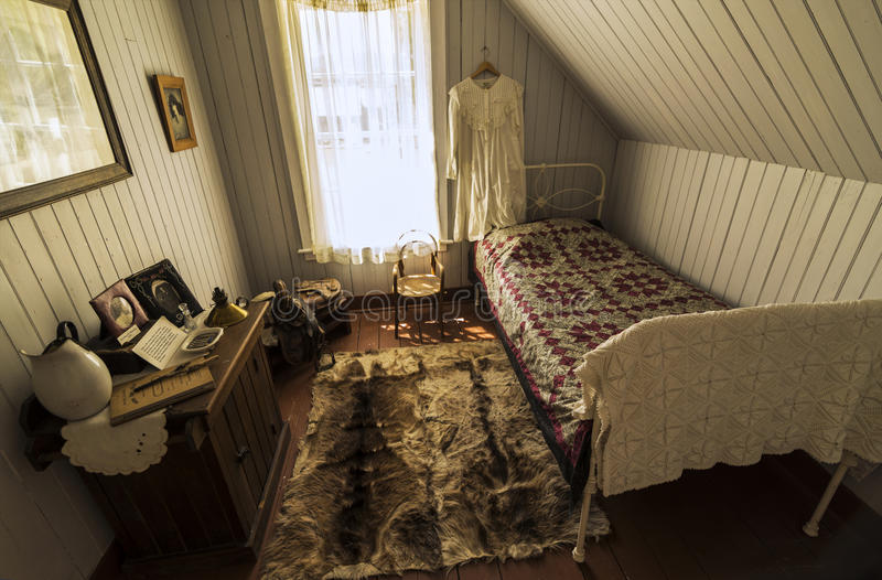 Old bedroom at Pandosy mission site. The first non-native settlement in the Okanagan Valley was a mission established on this site in 1859 by Father Pandosy royalty free stock photo