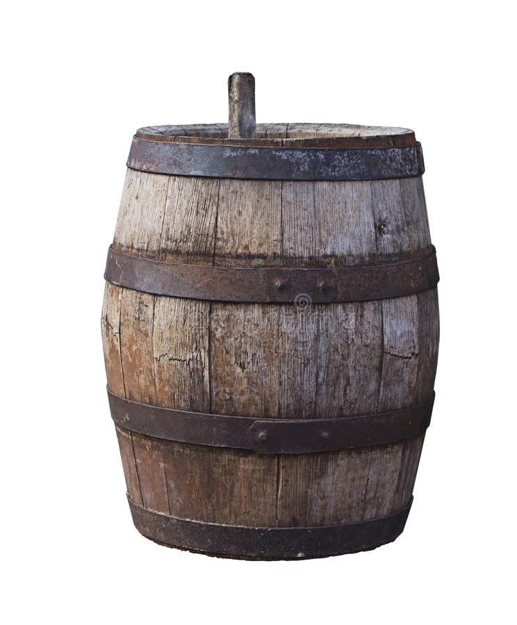 Old beer barrel royalty free stock photography