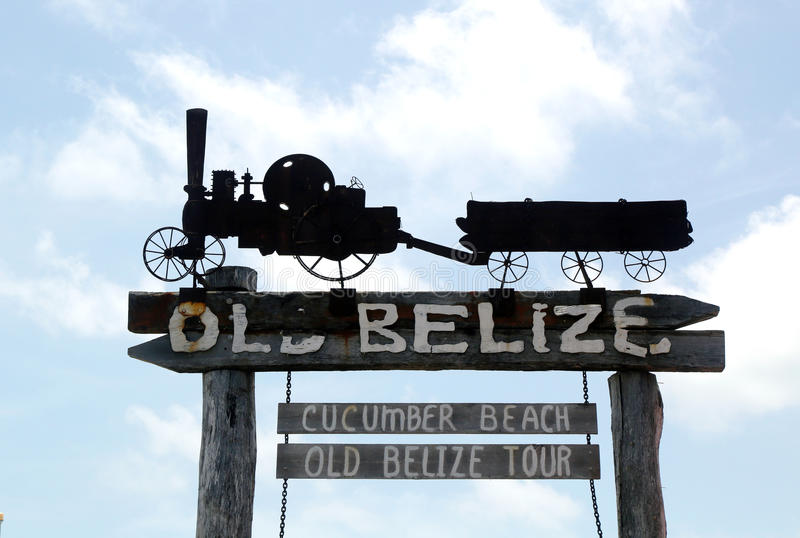 Old Belize Museum and Cucumber Beach sign in Belize City stock images