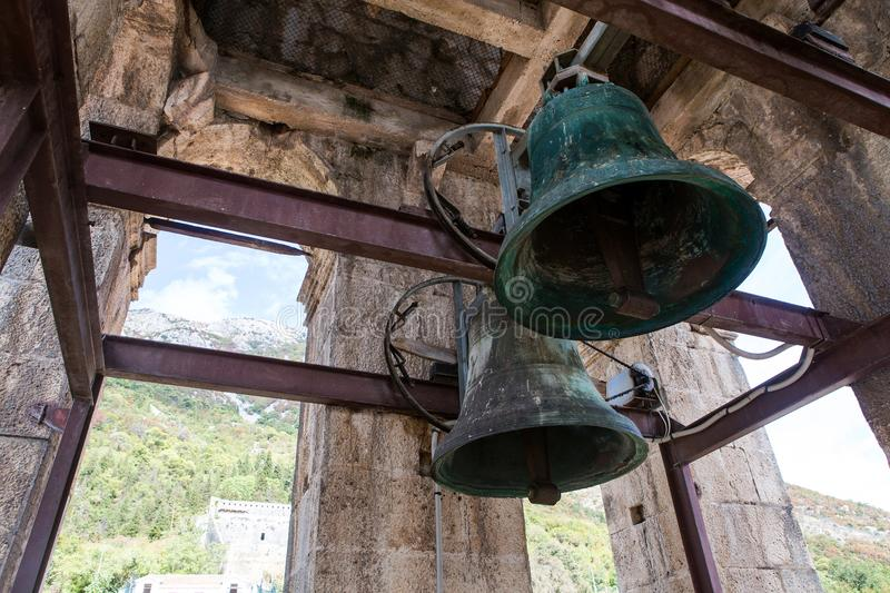 Old bells in the Church St. Nicholas Church in Perast, stock images