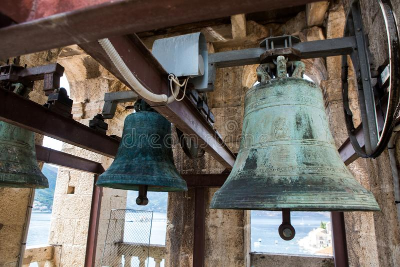 Old bells in the ChurchSt. Nicholas Church in Perast, stock images