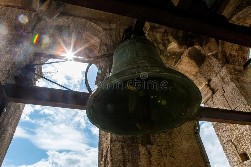 Old bells in the ChurchSt. Nicholas Church in Perast, stock photo