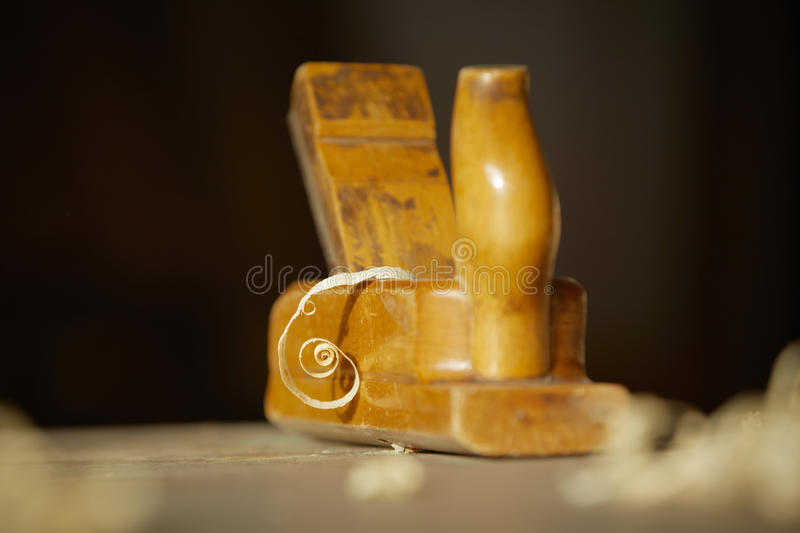 Old bench plane. In cabinet-maker´s workshop royalty free stock images