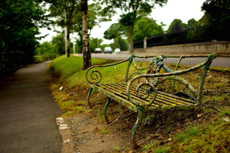 Old bench. Street royalty free stock image