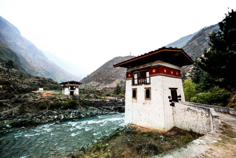 Old Bhutanese Dzong in Paro, Bhutan stock photo
