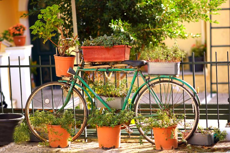 An old bicycle makes a fine show of itself in Benitses, Corfu royalty free stock photo