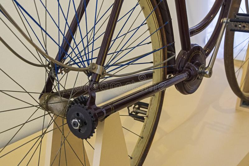 The old bicycle of the original design. The movement from the pedals to the wheel is transmitted not by a chain, but by a shaft with a bevel gear stock photo