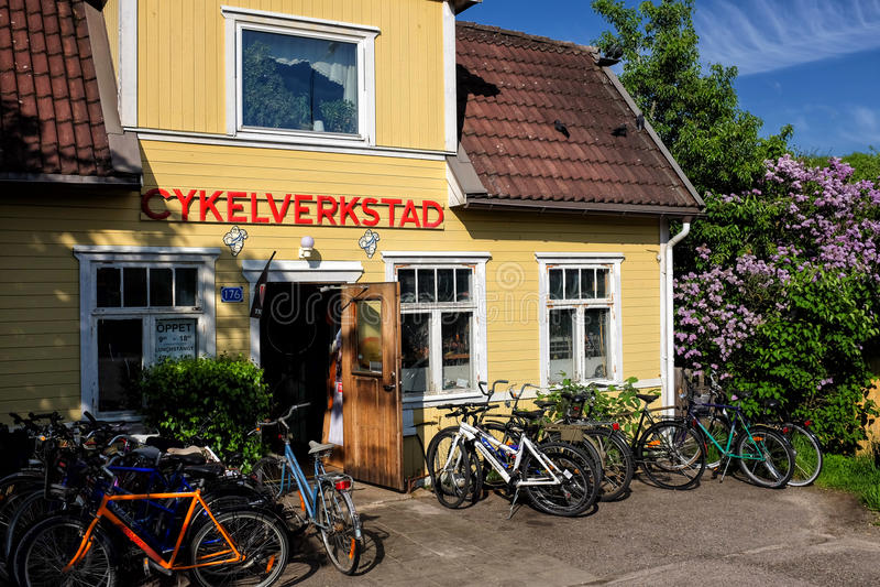 Old bicycle repair shop royalty free stock image