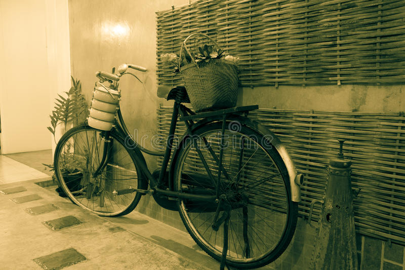 Old bicycle vintage style stock photography