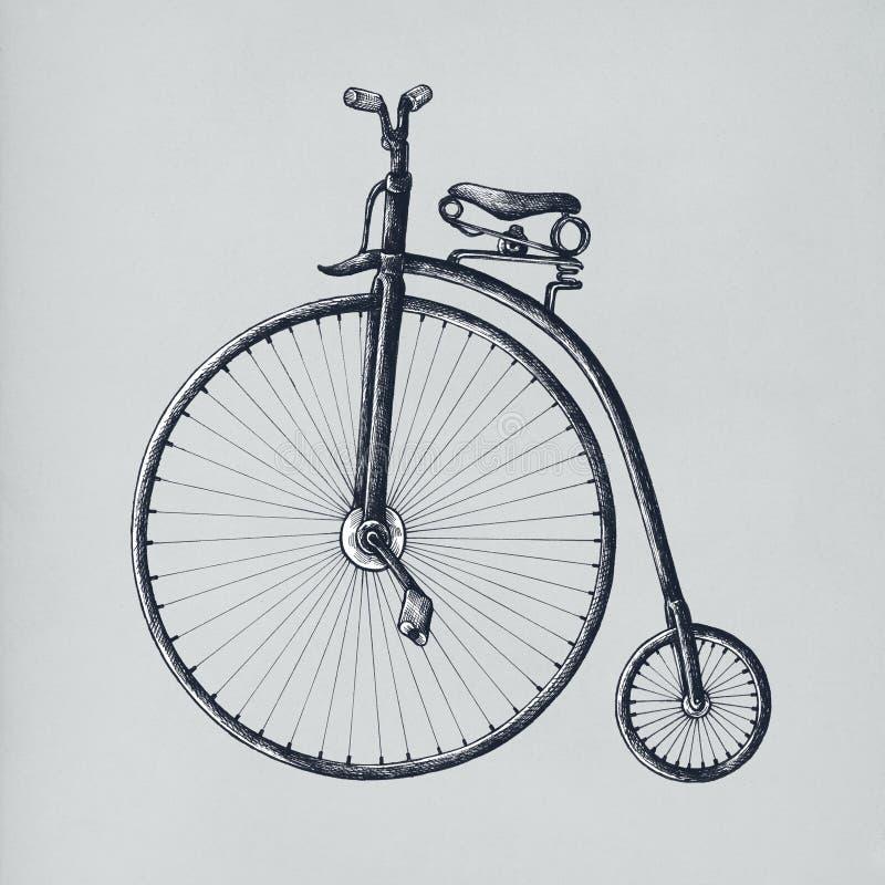 Old bicycle vintage style illustration royalty free illustration