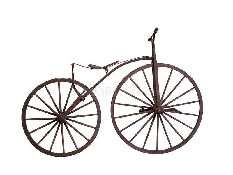 Old bicycle with wooden wheels isolated stock image