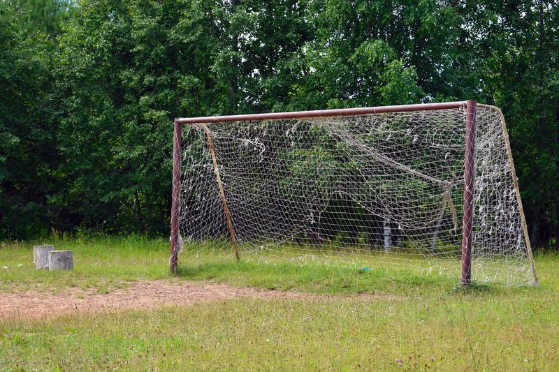 Old  big football goal with grid royalty free stock photos
