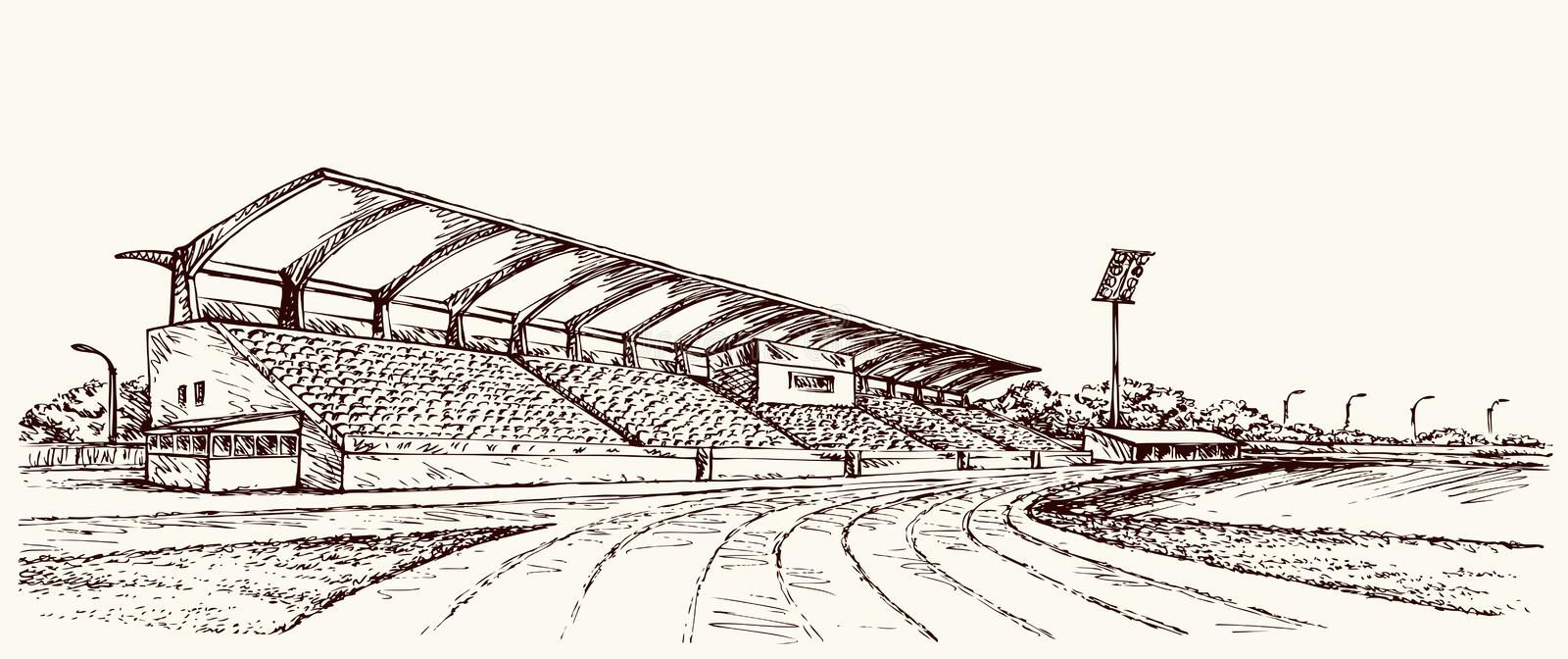 Small Stadium. Vector sketch. Old big village ballpark lawn. Line black ink hand drawn college row track theater cup symbol backdrop in retro art doodle cartoon stock illustration