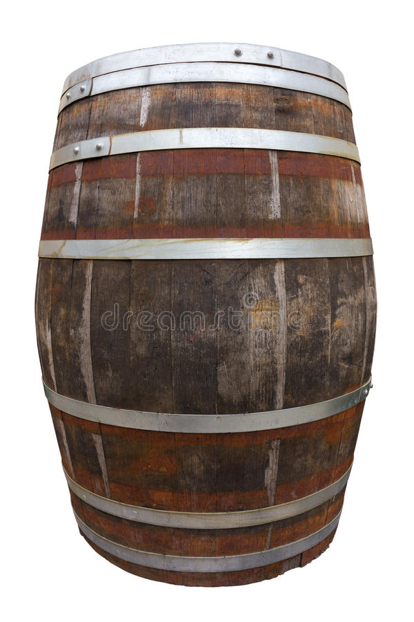 Old big wooden barrel. Isolated on white. Clipping path included royalty free stock photos
